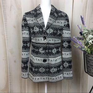 Joseph Ribkoff Black and White Nordic Jacket